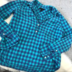 J.crew blue and green plaid popover sz.6